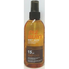 Piz Buin wet skin spf 15 protección media spray solar corporal transparente 150 ml