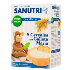Sanutri papilla 8 cereales con galleta maria fos con gluten 2 bolsas 300 g