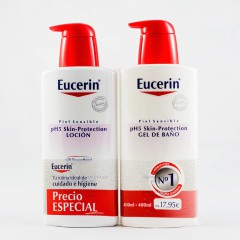 Eucerin piel sensible pack locion 400 ml+ gel 400 ml