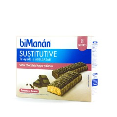 Bimanan Sustitutive barritas chocolate negro y blanco 8 un