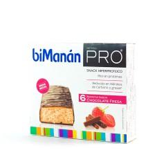 Bimanan PRO snack hiperproteico barritas chocolate fresa 6 un