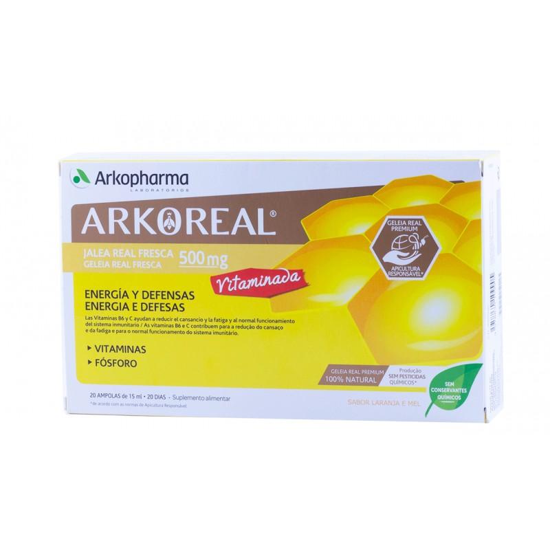Arkoreal jalea real vitaminada 500 mg  20 ampollas bebibles-Farmacia Olmos