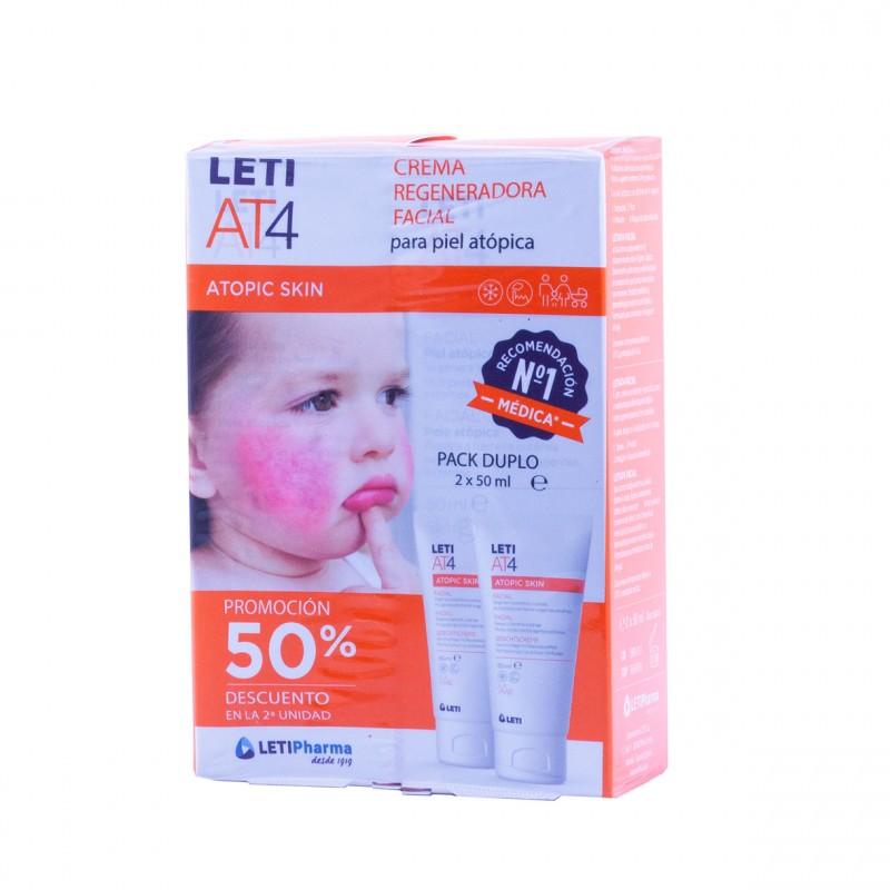 Leti at-4 atopic skin facial 50 ml duplo-Farmacia Olmos