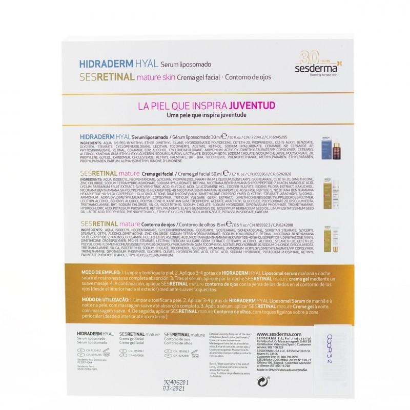 Sesderma juventud pack hidradrem serum 30ml+ sesretinal gel-cream 50ml+ sesretinal contorno 15ml-Farmacia Olmos