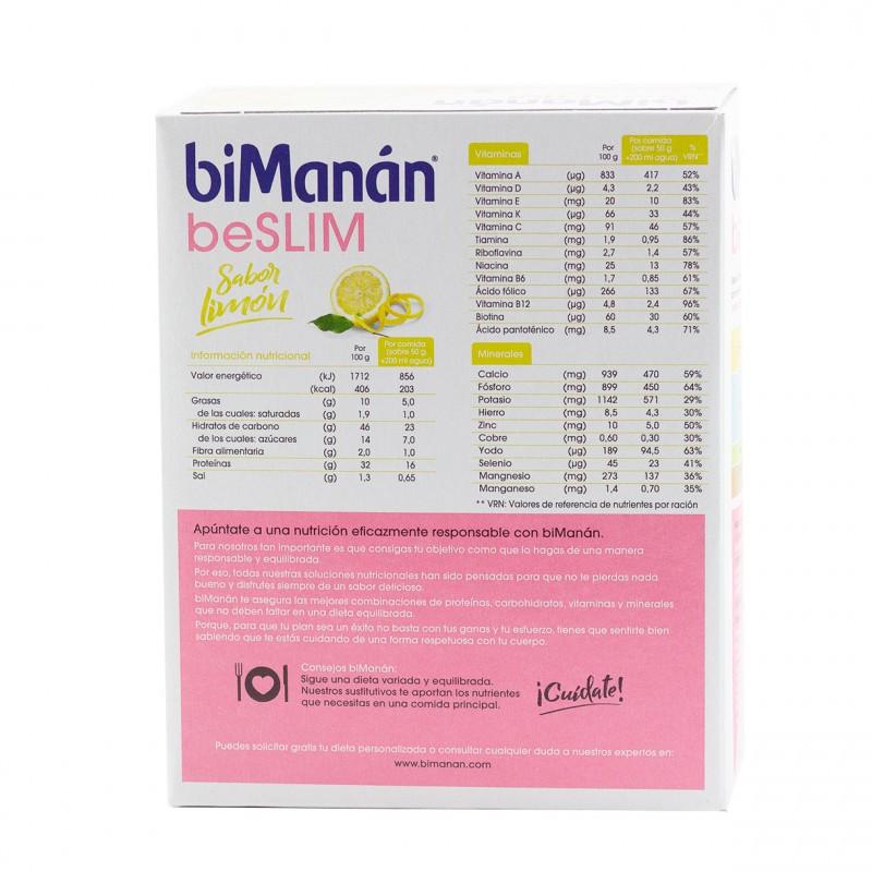 Bimanan be slim natillas limon 6 sobres-Farmacia Olmos