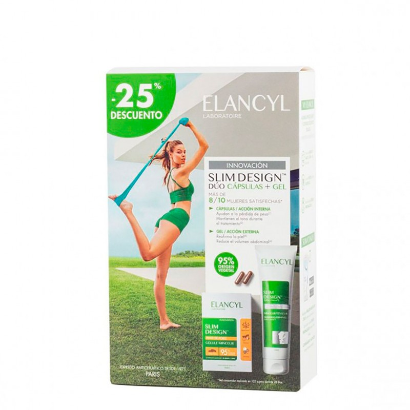 Elancyl slim design duo capsulas reductora + gel vientre zonas rebeldes pack 60 capsulas + 150 m - Farmacia Olmos