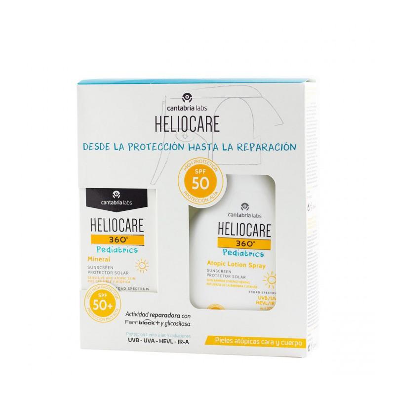 Heliocare 360º pediatrics spf 50 pack mineral 50ml + atopic lotion spray 250ml-Farmacia olmos