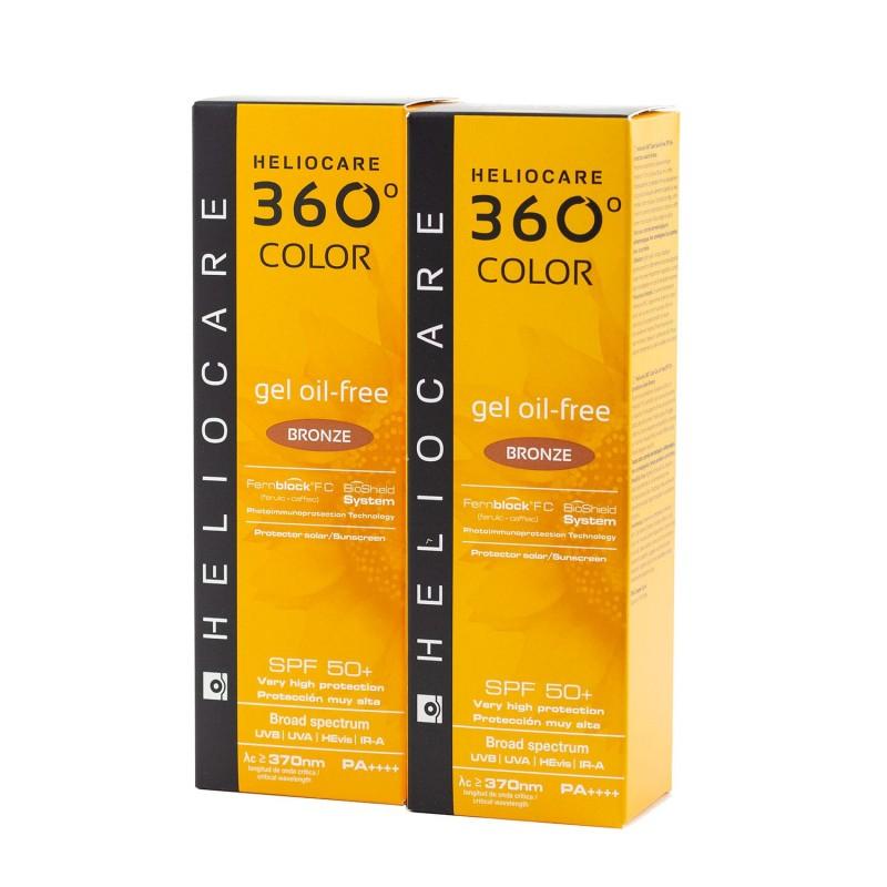 Heliocare 360º spf 50+ color gel oil-free bronze 50ml pack 2 unidades+regalo endocare-c 7 ampollas - Farmacia Olmos
