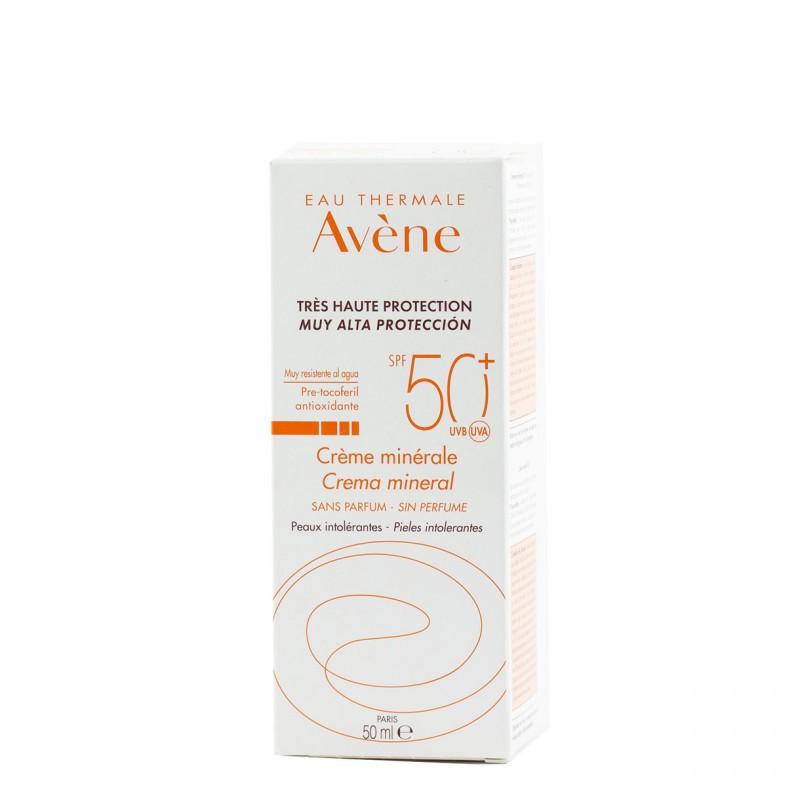 Avene proteccion spf 50+ crema crema mineral sin perfume 50 ml-Farmacia Olmos
