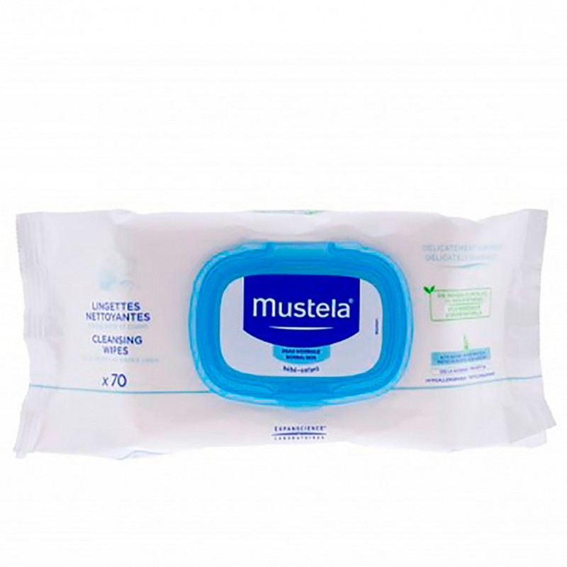 Mustela toallitas limpiadoras 70 unidades-Farmacia Olmos