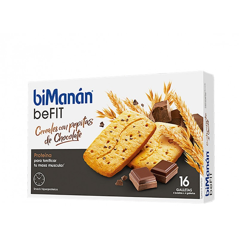 Bimanan be fit galletas cereales pepitas chocolate 16 unidades-Farmacia Olmos