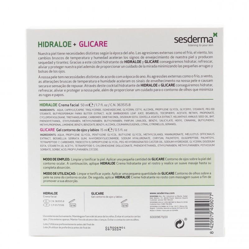Sesderma hidratacion pack hidraloe crema +glicare contorno ojos-Farmacia Olmos