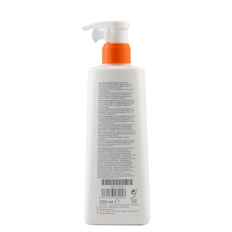 Leti at-4 atopic skin leche corporal  250 ml + regalo  gel 250 ml-Farmacia Olmos