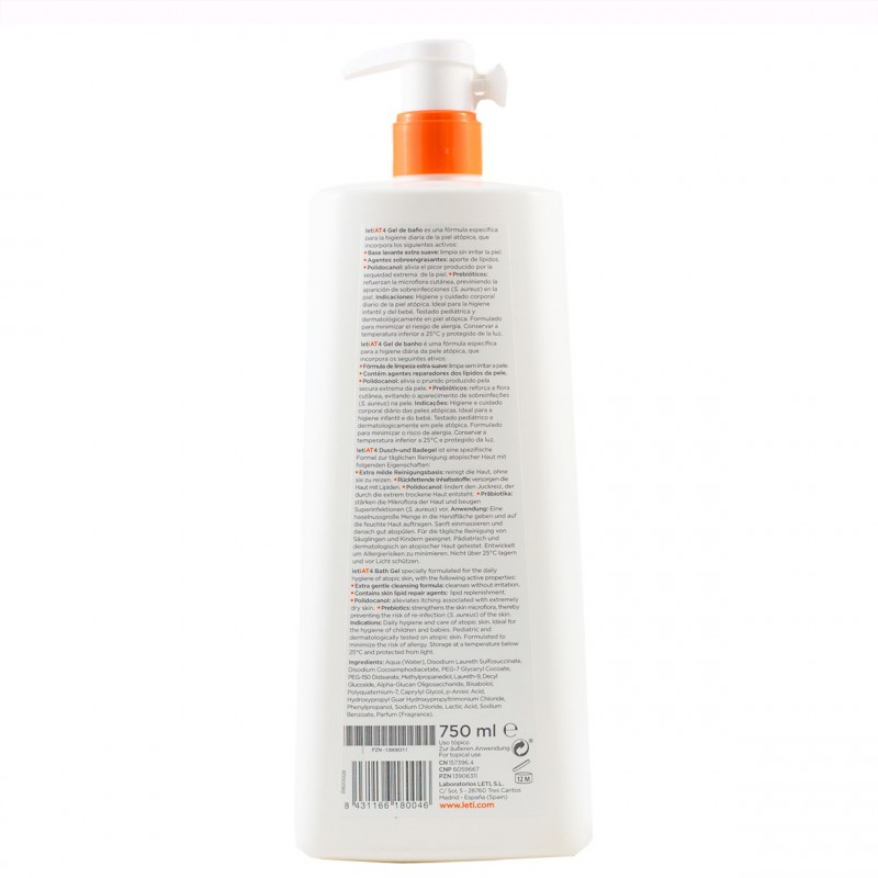 Leti at-4 gel de baño dermograso  750 ml -Farmacia Olmos