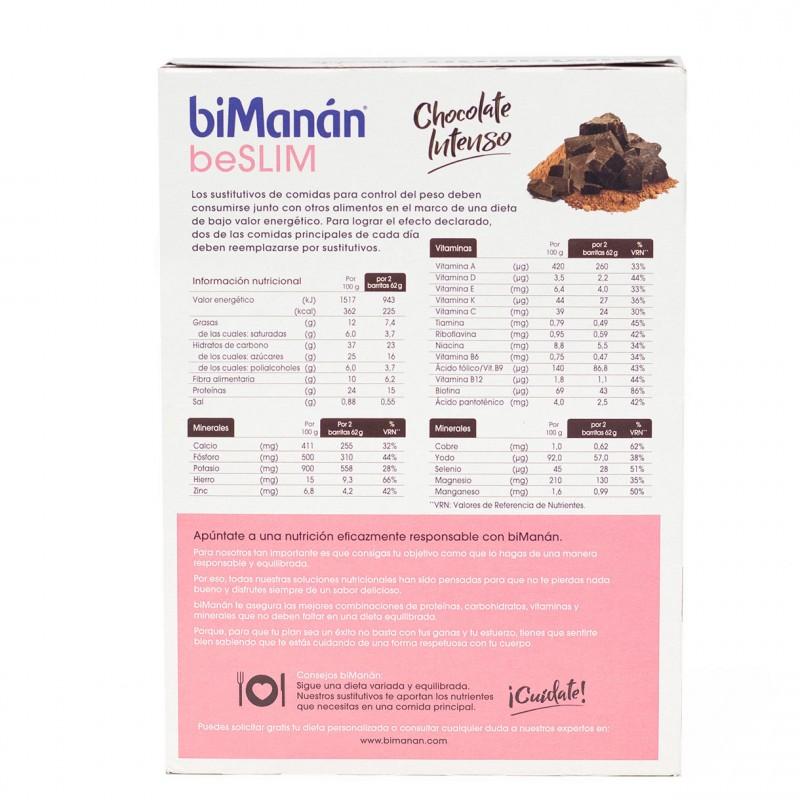 Bimanan be slim barrita chocolate negro intenso 8 unidad - Farmacia Olmos