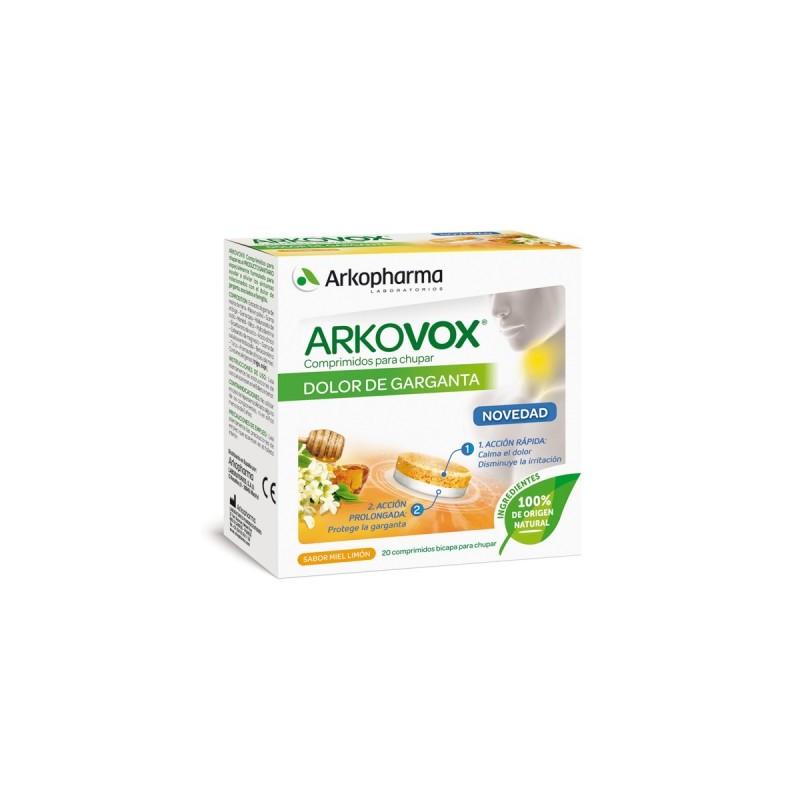 Arkovox dolor de garganta 20 comprimidos sabor miel-limón - Farmacia Olmos