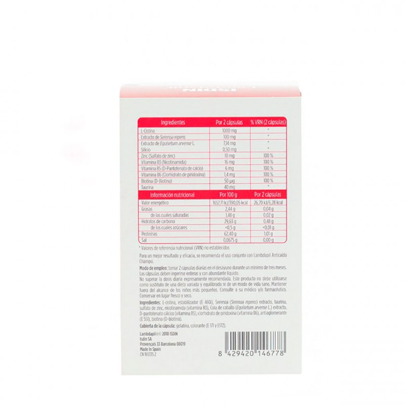 Isdin lambdapil anticaida  60 capsulas-Farmacia Olmos