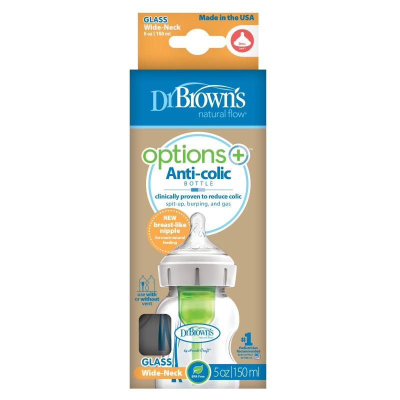 Dr brown¨s biberon options+ boca ancha vidrio 150 ml-Farmacia Olmos