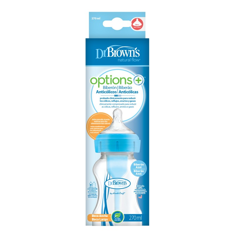 Dr brown´s biberon options+ boca ancha azul 270 ml-Farmacia Olmos