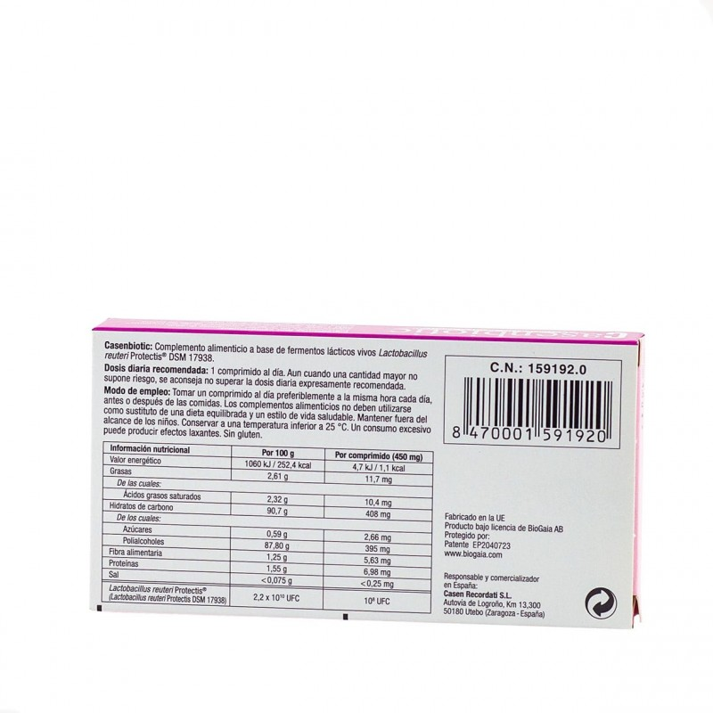 Casenbiotic fresa 10 comprimidos masticables-Farmacia Olmos