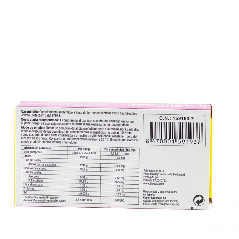 Casenbiotic limon 30 Comprimidos masticables - Farmacia Olmos