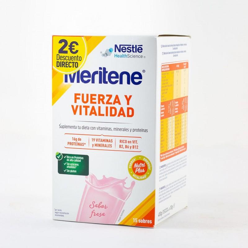 Meritene batido fresa 15 sobres-Farmacia Olmos